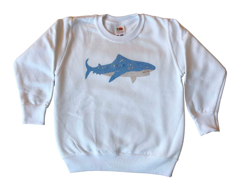 Image of KMAdotcom Nicholas' shark sweatshirt (white)