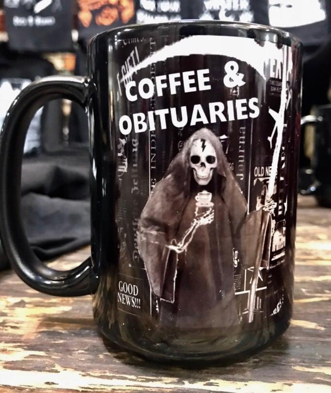 Image of Coffee and Obituaries Mug