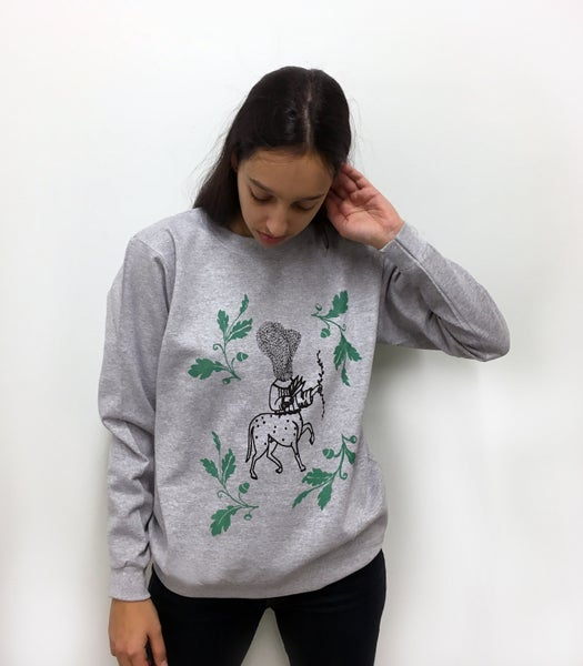 """Image of """"پیچک"""" Hand pulled screen printed Unisex sweatshirt (Gray Color)"""