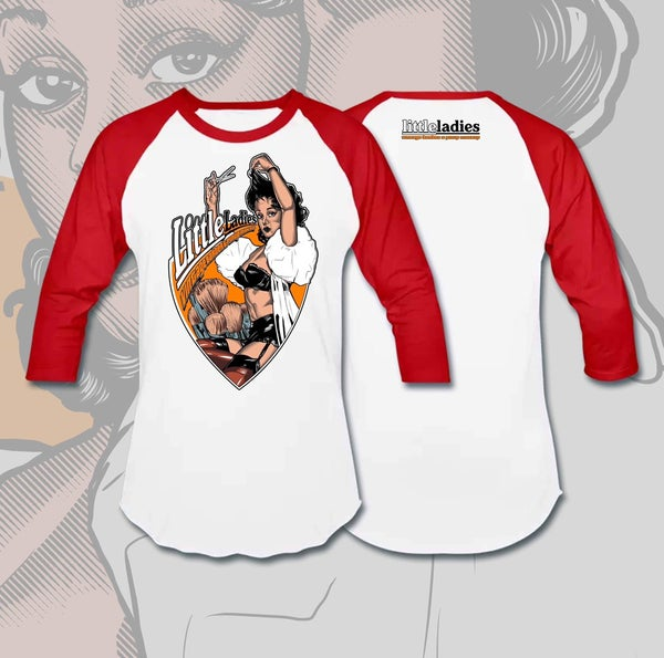 Image of Little Ladies Vintage Barber and Pin Up Makeup Logo  regular shirt