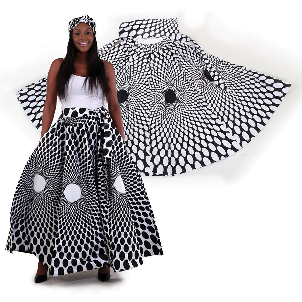 Image of Polka Dot Maxi Skirt w/ Scarf