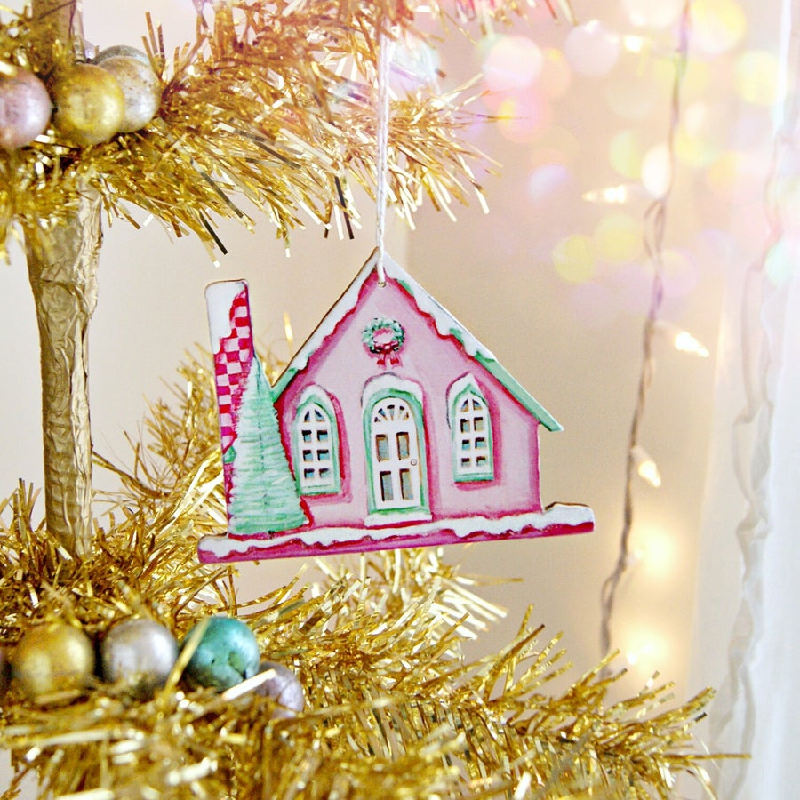 Image of pink putz house ornament (with glitter accents)