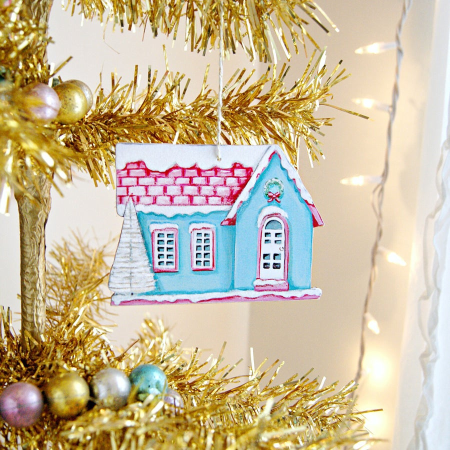 Image of Blue putz house ornament (with glitter accents)