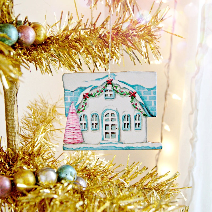 Image of white putz house ornament (with glitter accents)