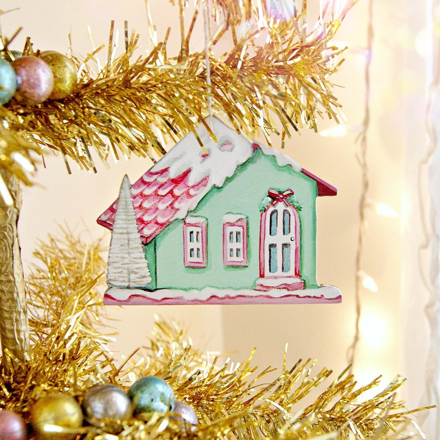 Image of green putz house ornament (with glitter accents)