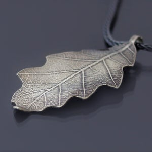 Image of Imprinted Sterling Silver Bur Oak Leaf Necklace