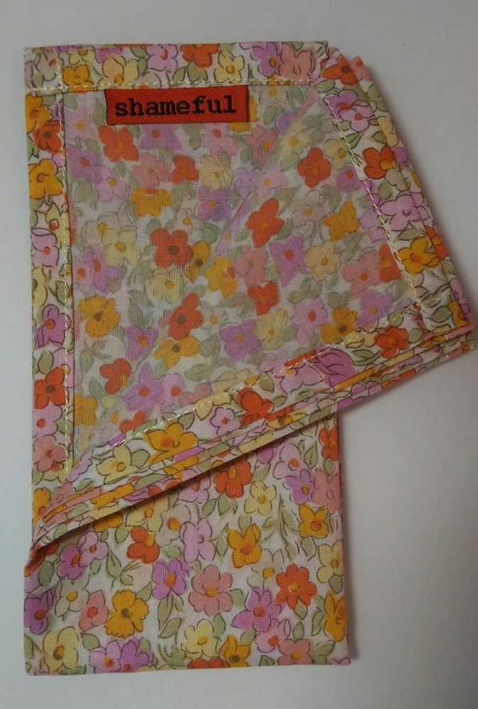 Image of NEW - Handkerchief with orange and pink pastel flowers