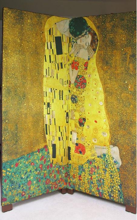 Image of Gustav Klimt 'The Kiss' Fabric, Two Panel Folding Screen