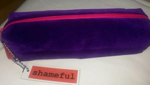 Image of NEW RANGE - Luscious purple velvet purse with hot pink zip