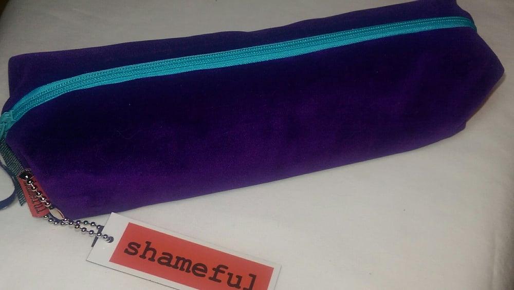 Image of NEW RANGE - Luscious purple velvet purse with turquoise zip