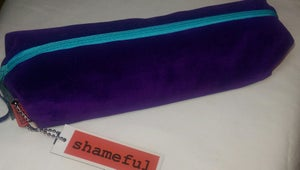 Image of NEW RANGE - Luscious purple velvet purse with turquoise zip