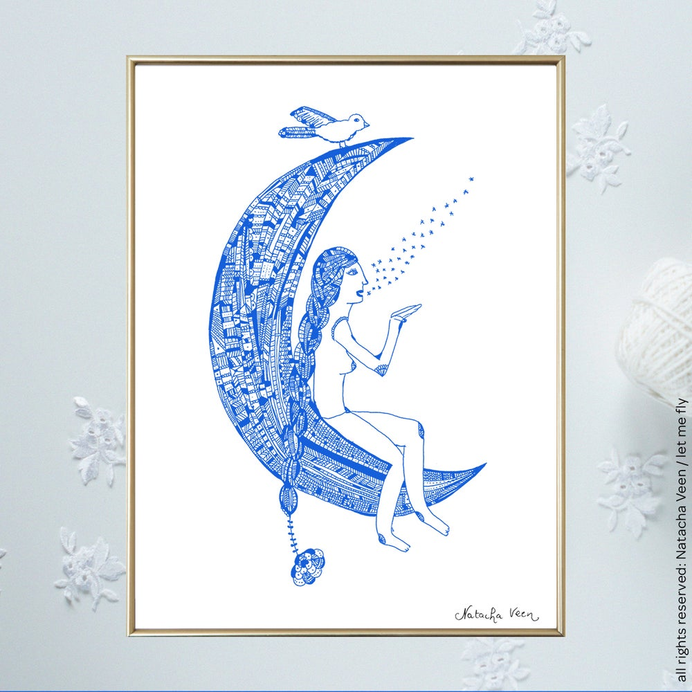 Image of Blue *Woman&moon*_A4
