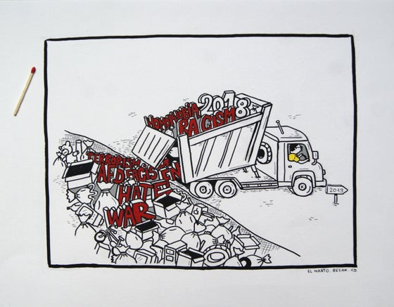 """Image of """"Homophobia, racism, facism, war, hate, terrorism ... in the trash !"""""""