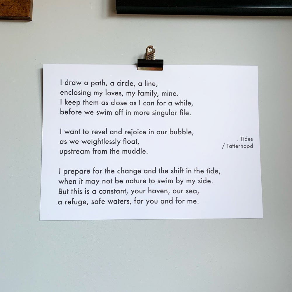 Image of Tides - A3 heavyweight poem print on premium 300gsm white recycled board