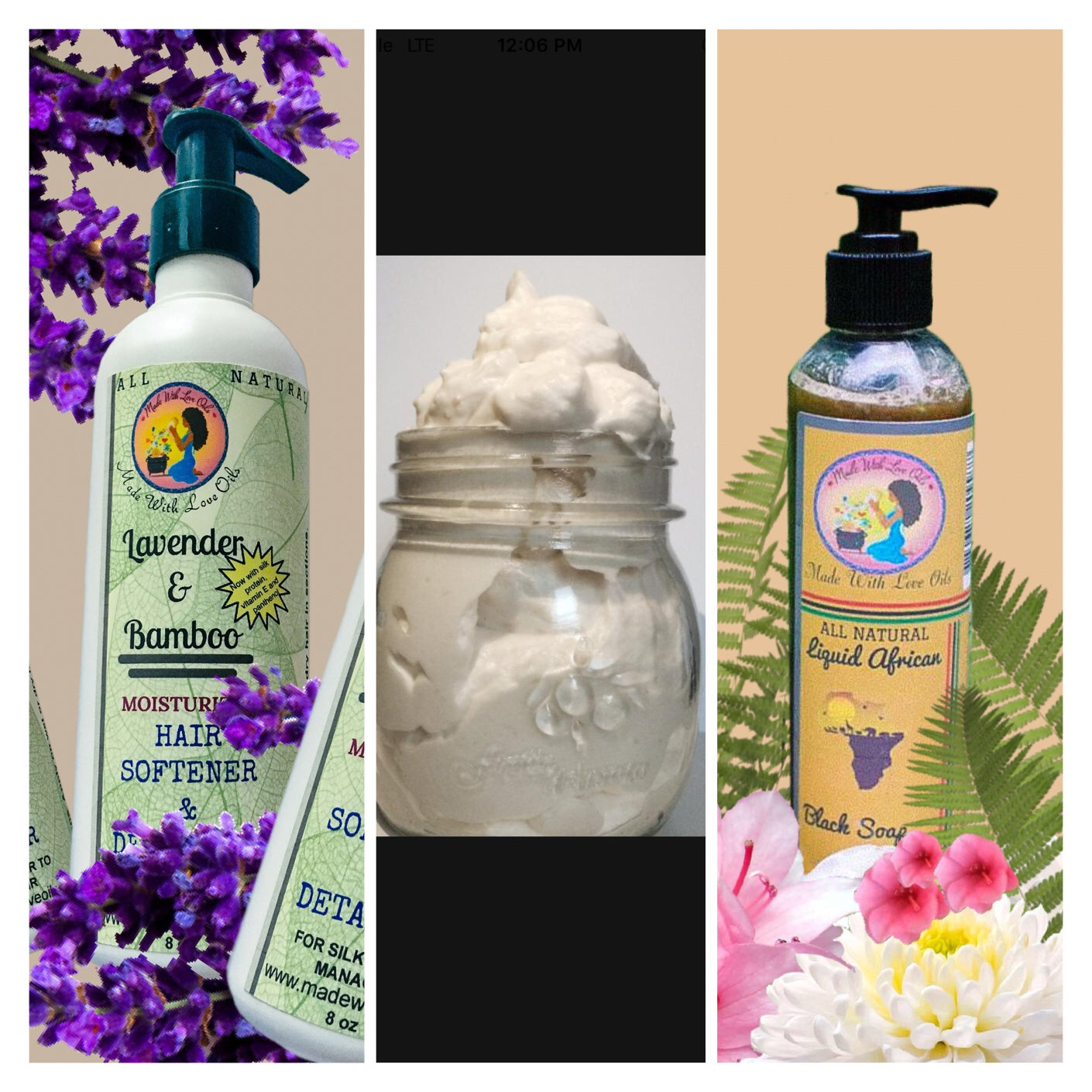Image of Care Combo #1 Liquid Soap, Moisturizer and Conditioner