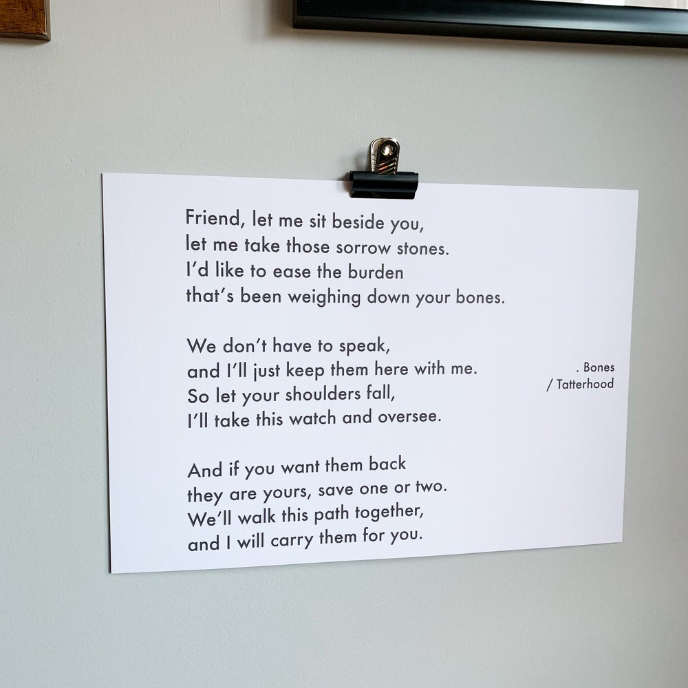 Image of Bones - A3 heavyweight poem print on premium 300gsm white recycled board