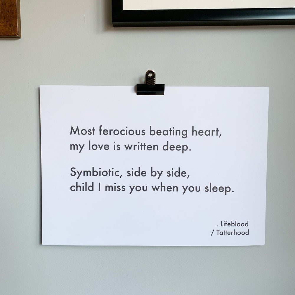 Image of Lifeblood - A3 heavyweight poem print on premium 300gsm white recycled board