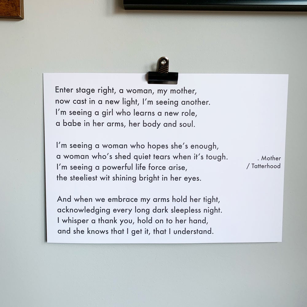 Image of Mother - A3 heavyweight poem print on premium 300gsm white recycled board