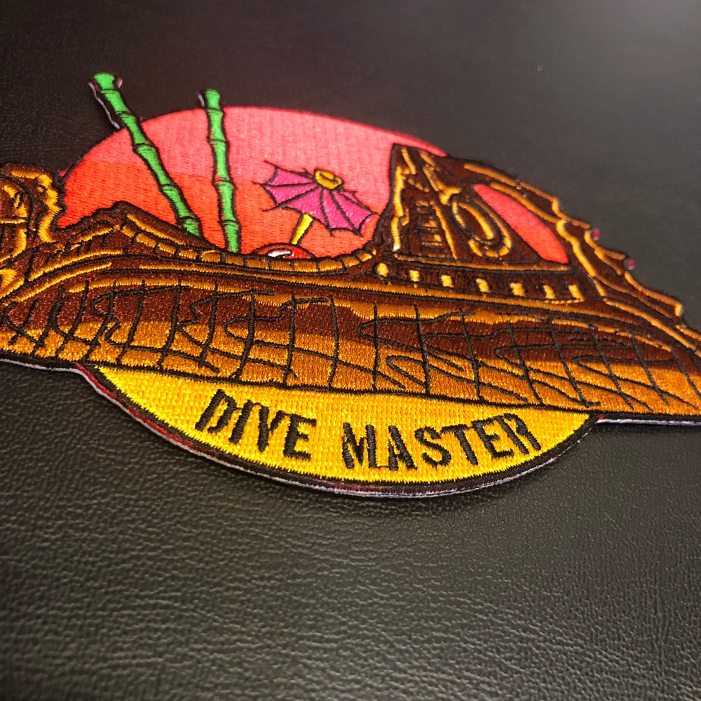 "Image of 6"" TS Nautilus ""Dive Master"" patch with iron on backing."