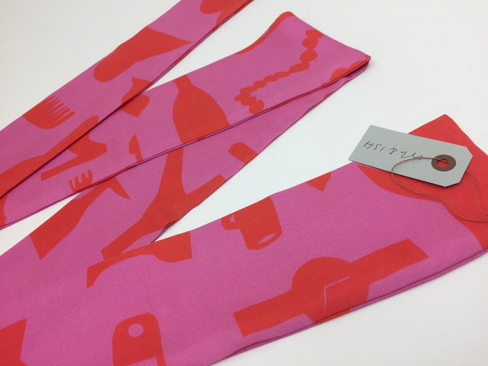 Image of Hers & His Slim Silk Twill Red & Pink