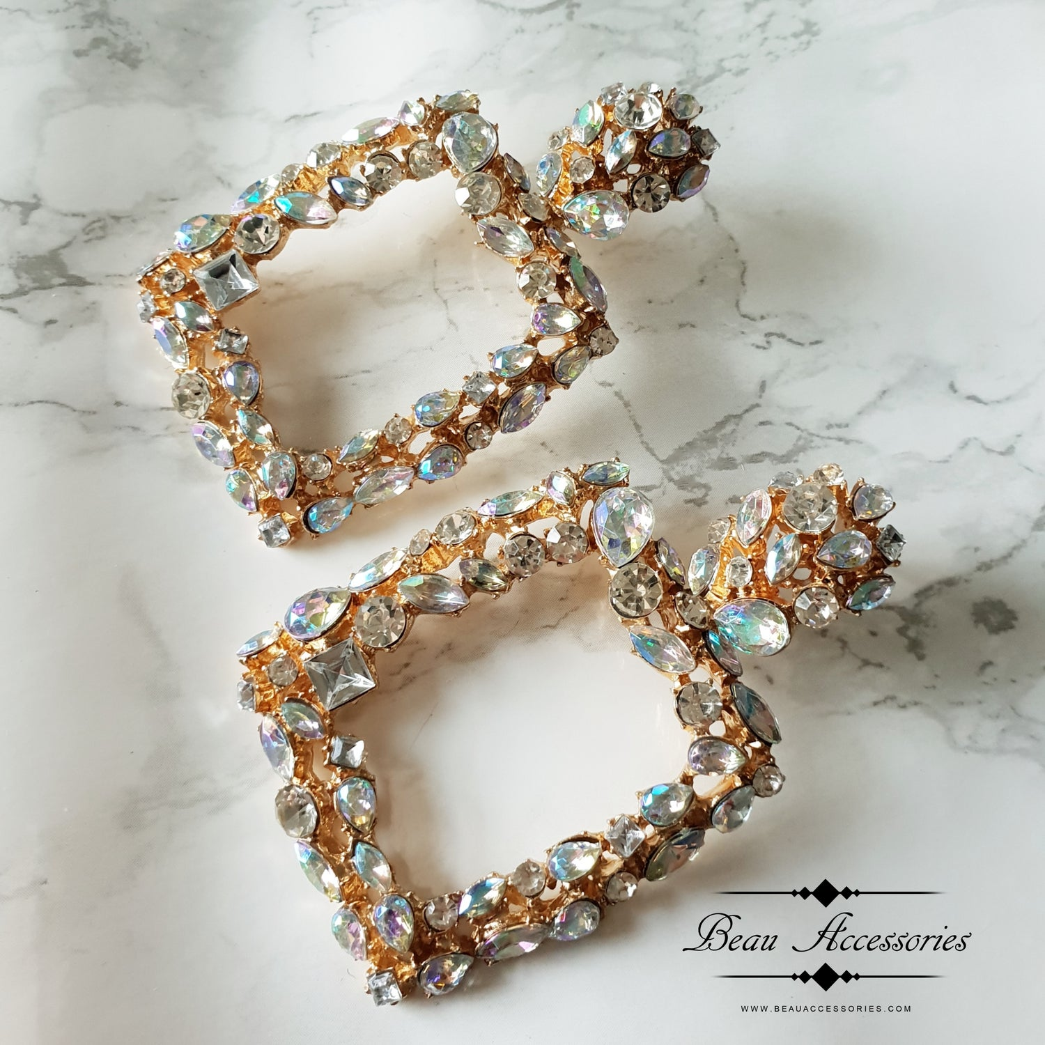 Image of Crystal Textured Statement Earrings