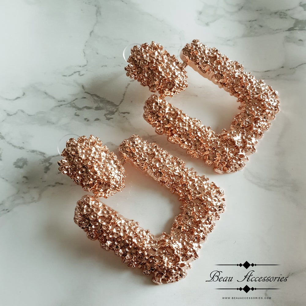 Image of Rose Gold Square Textured Earrings