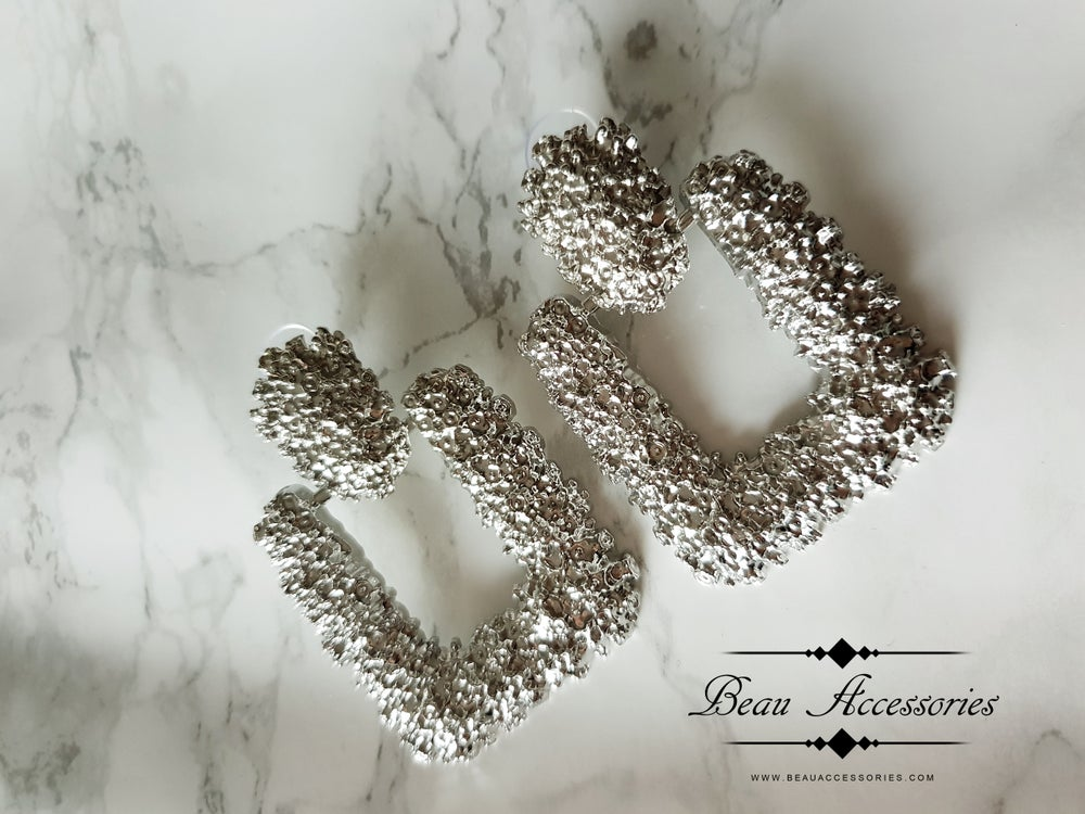 Image of Silver Square Textured Earrings