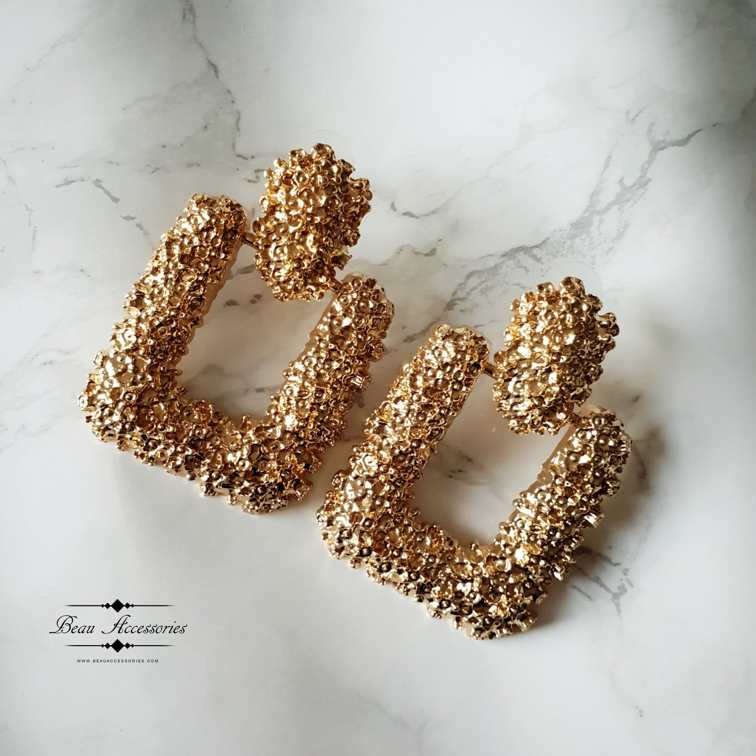 Image of Golden Square Textured Statement Earrings
