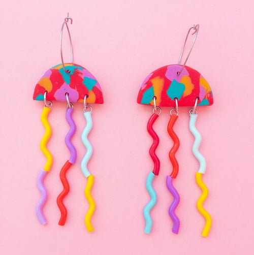 Image of Rainbow summer + mini jellyfish earrings