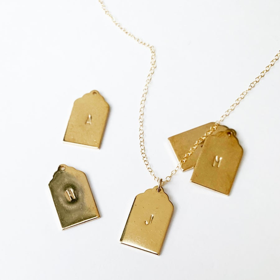 Image of PERSONALIZED BRASS HANG TAG PENDANT NECKLACE