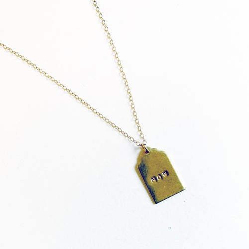 Image of PERSONALIZED BRASS HANG TAG NECKLACE