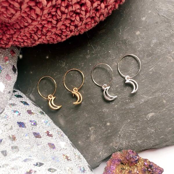 Image of Moon Hoop Earrings - Plated