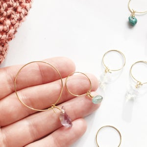 Image of Simple Stone Hoop Earrings - Golden Finish
