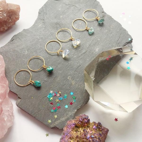 Image of Simple Stone Hoop Earrings - Golden Finish