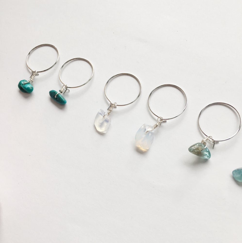 Image of Simple Stone Hoop Earrings - Silver Tone Finish
