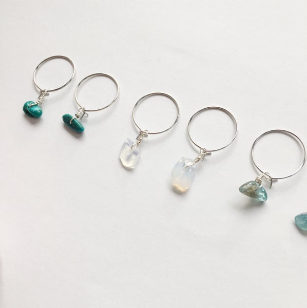 Image of Simple Stone Hoop Earrings - Silver Tone Finish