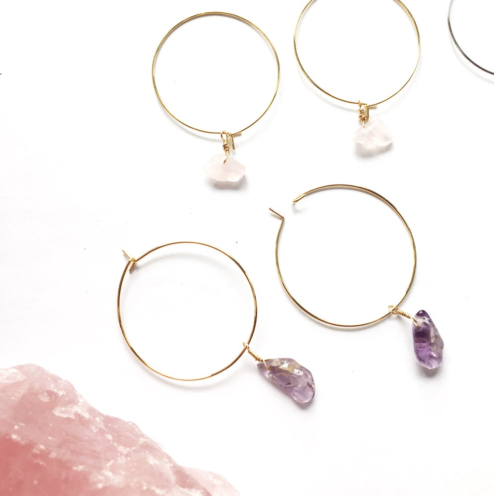 Image of Simple Stone Large Hoop Earrings