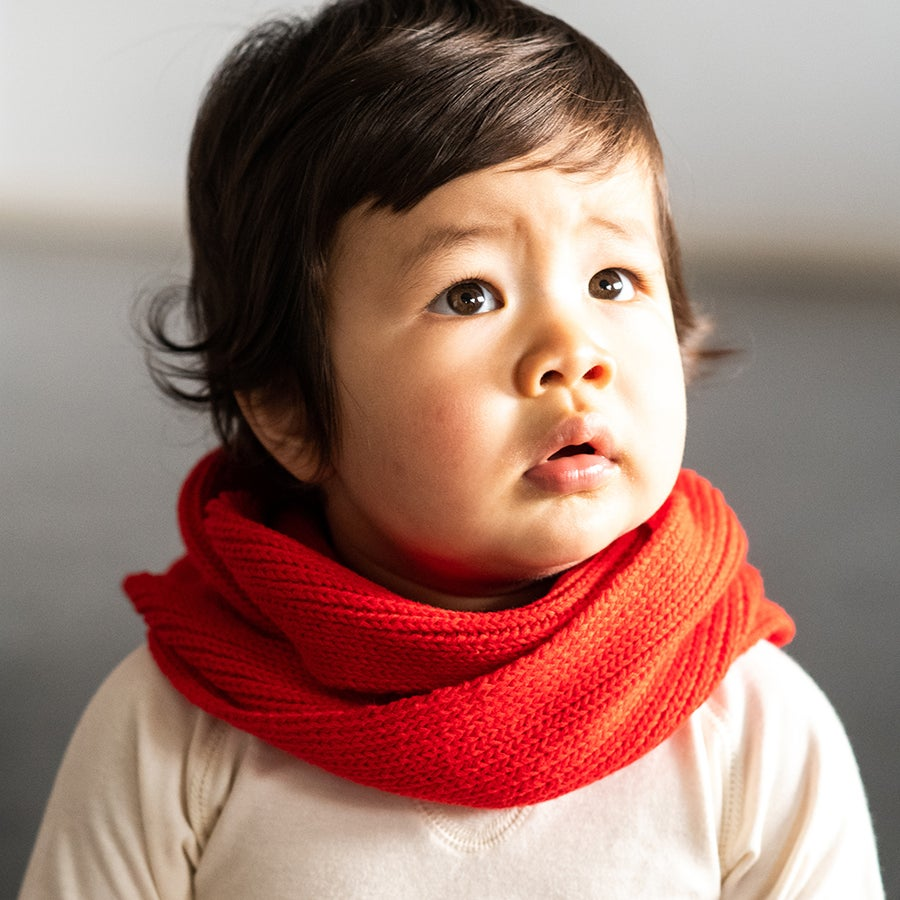 Image of Infinity Kids Knitted Scarf . China Red
