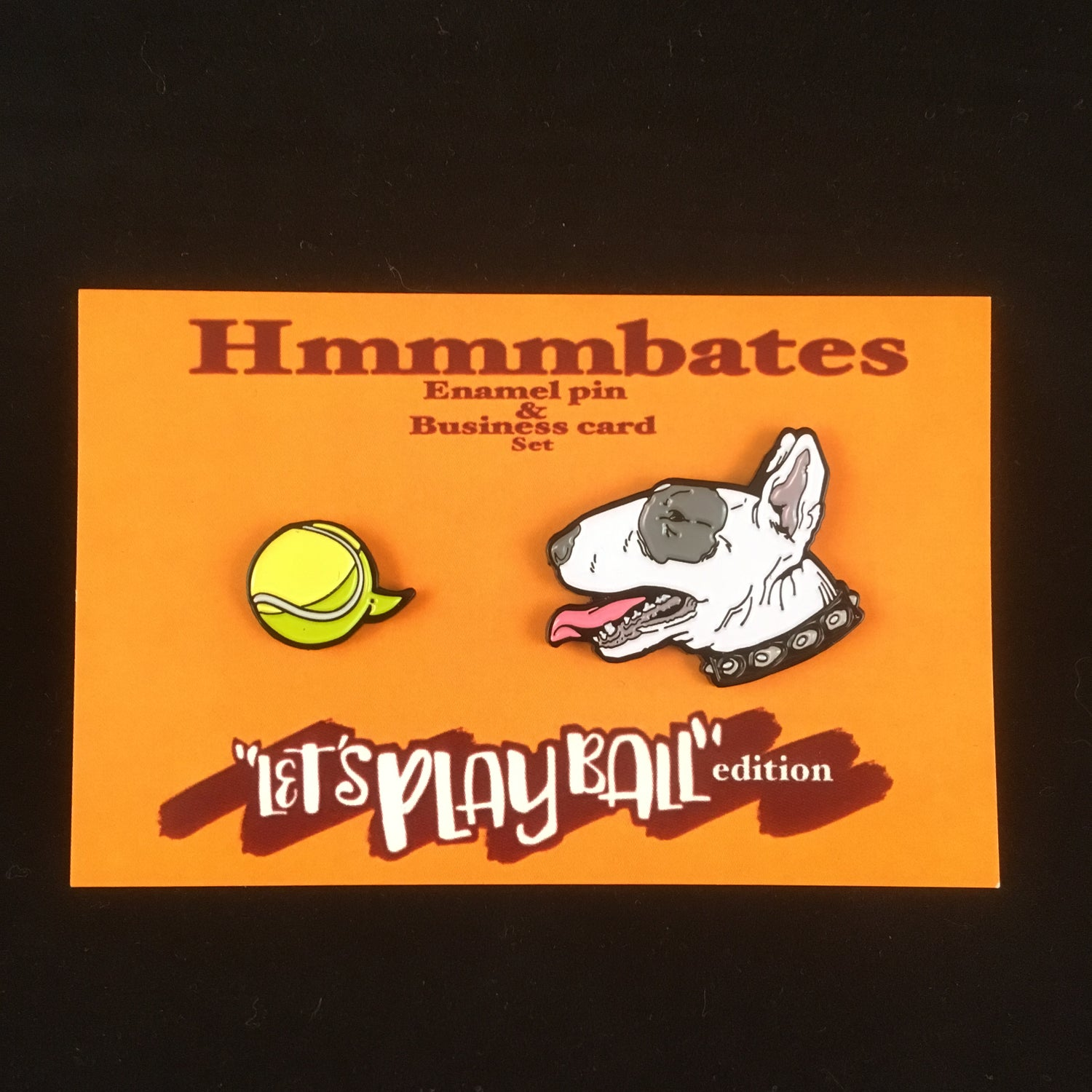 Image of Hmmmbates 'let's play ball' edition enamel pin set