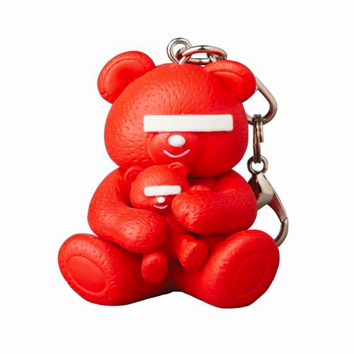 Image of UNDERCOVER × MEDICOM TOY Bear Logo Keychain Red
