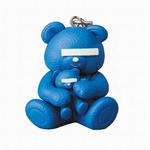 Image of UNDERCOVER × MEDICOM TOY Bear Logo Keychain Blue