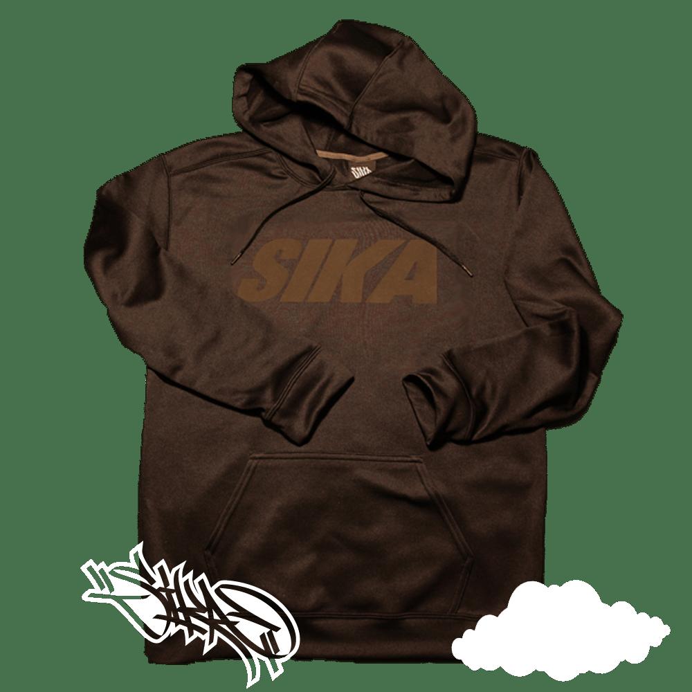 Image of SIKA block hoodie. (Black on black hoodie)