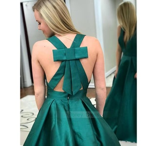 Image of Sexy Dark Green Satin Deep V-Neck A-Line Long Prom Dress Formal Gown With Bow Back