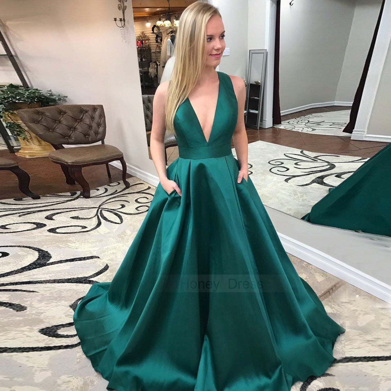 Sexy Dark Green Satin Deep V,Neck A,Line Long Prom Dress Formal Gown With  Bow Back