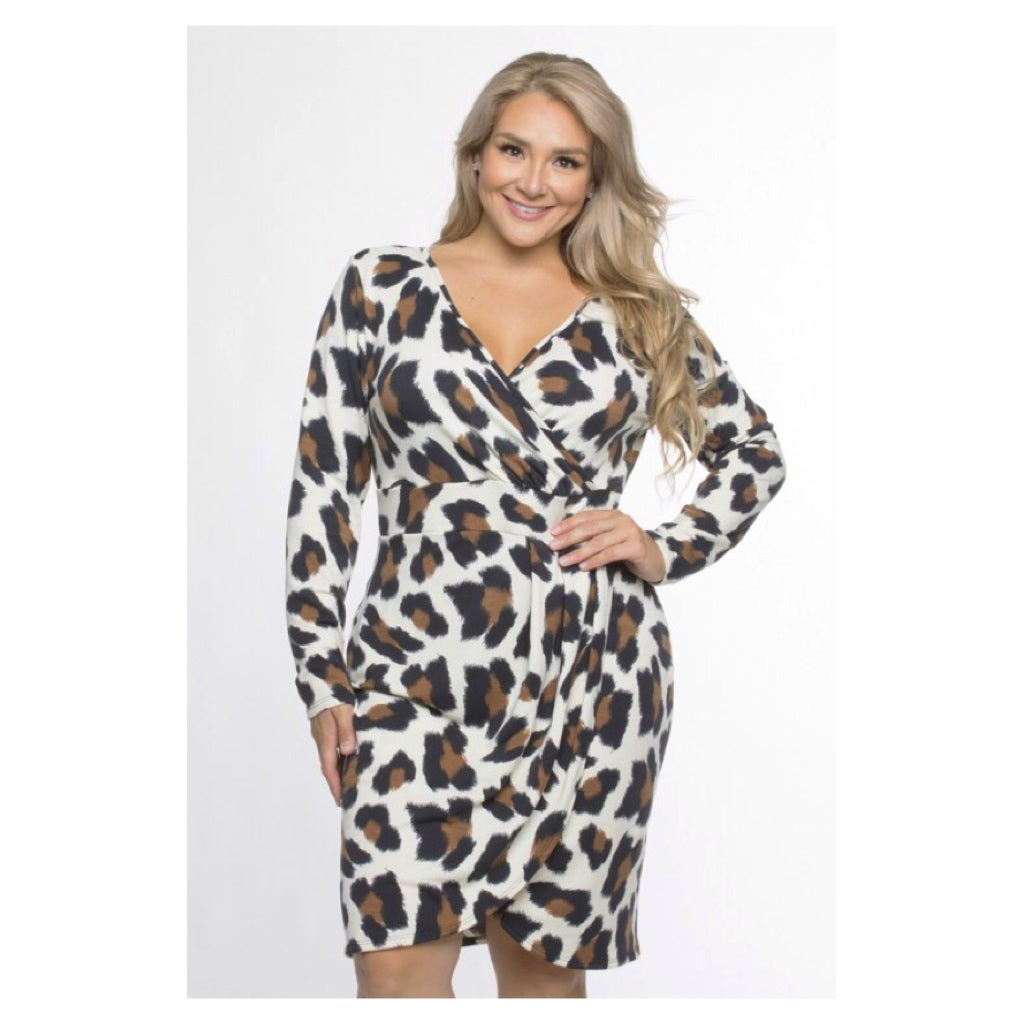Image of Curvy Leopard Wrap Dress
