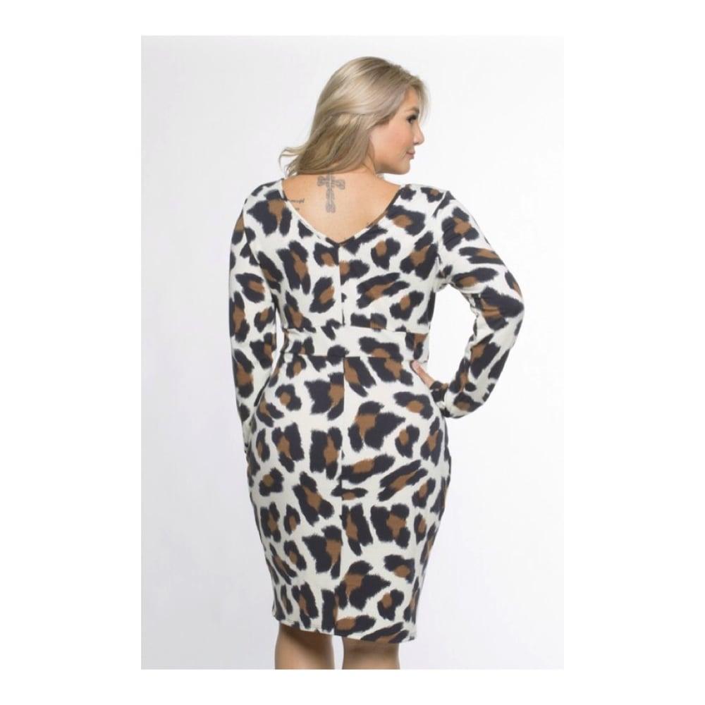 Image of Curvy Leopard Wrap Dress