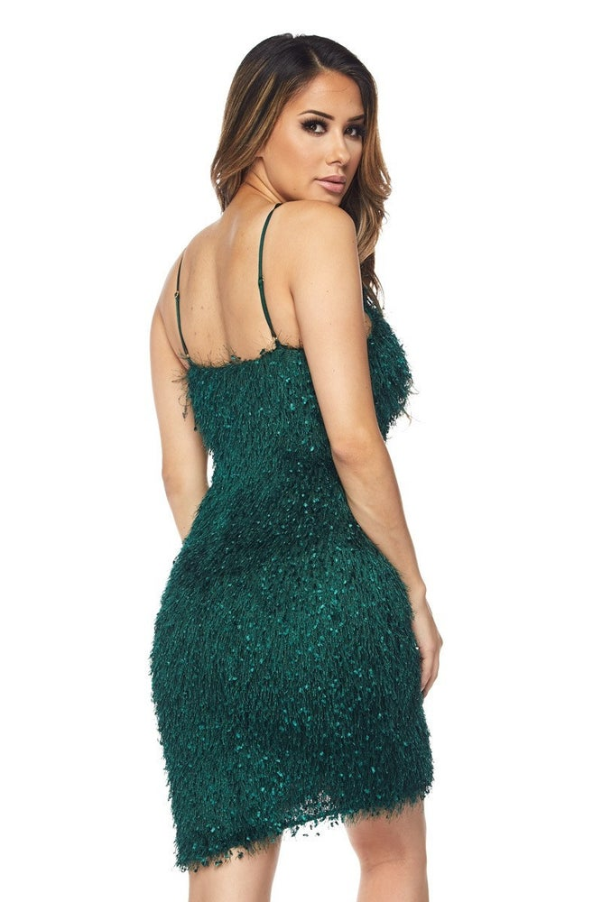 Image of Feathered Holiday Dress