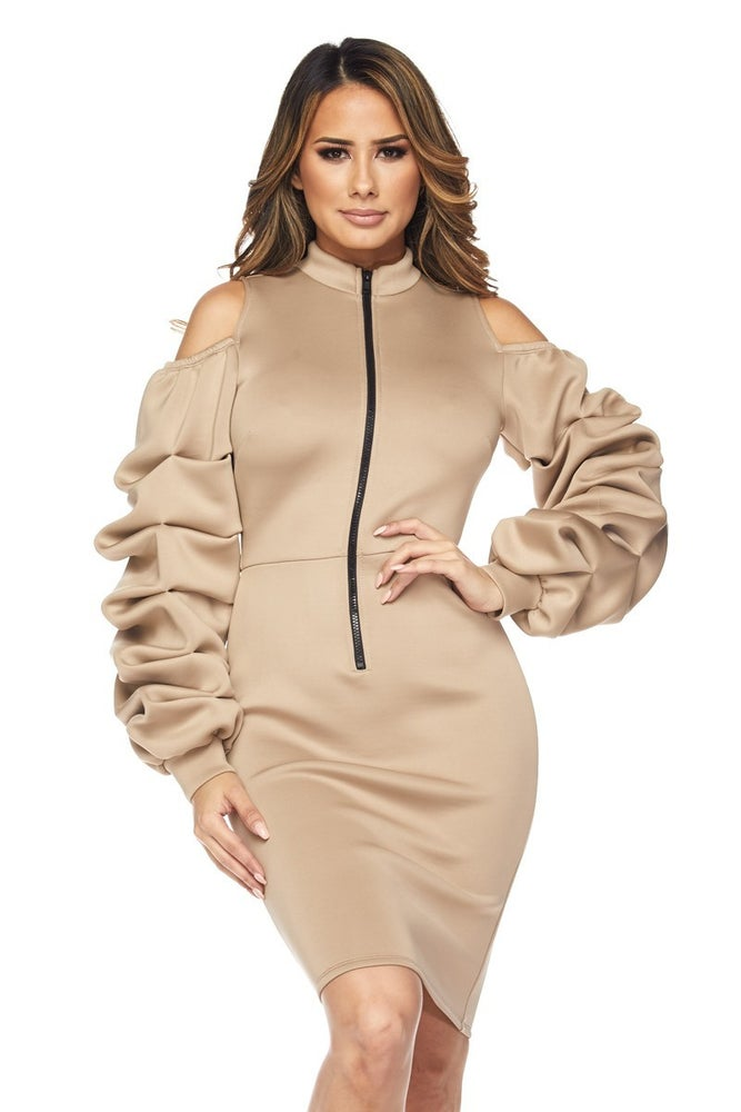 Image of Simone Scrunch Sleeve Dress