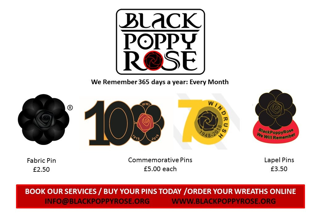 Image of BLACKPOPPYROSE WINDRUSH & 100 YEARS BADGES