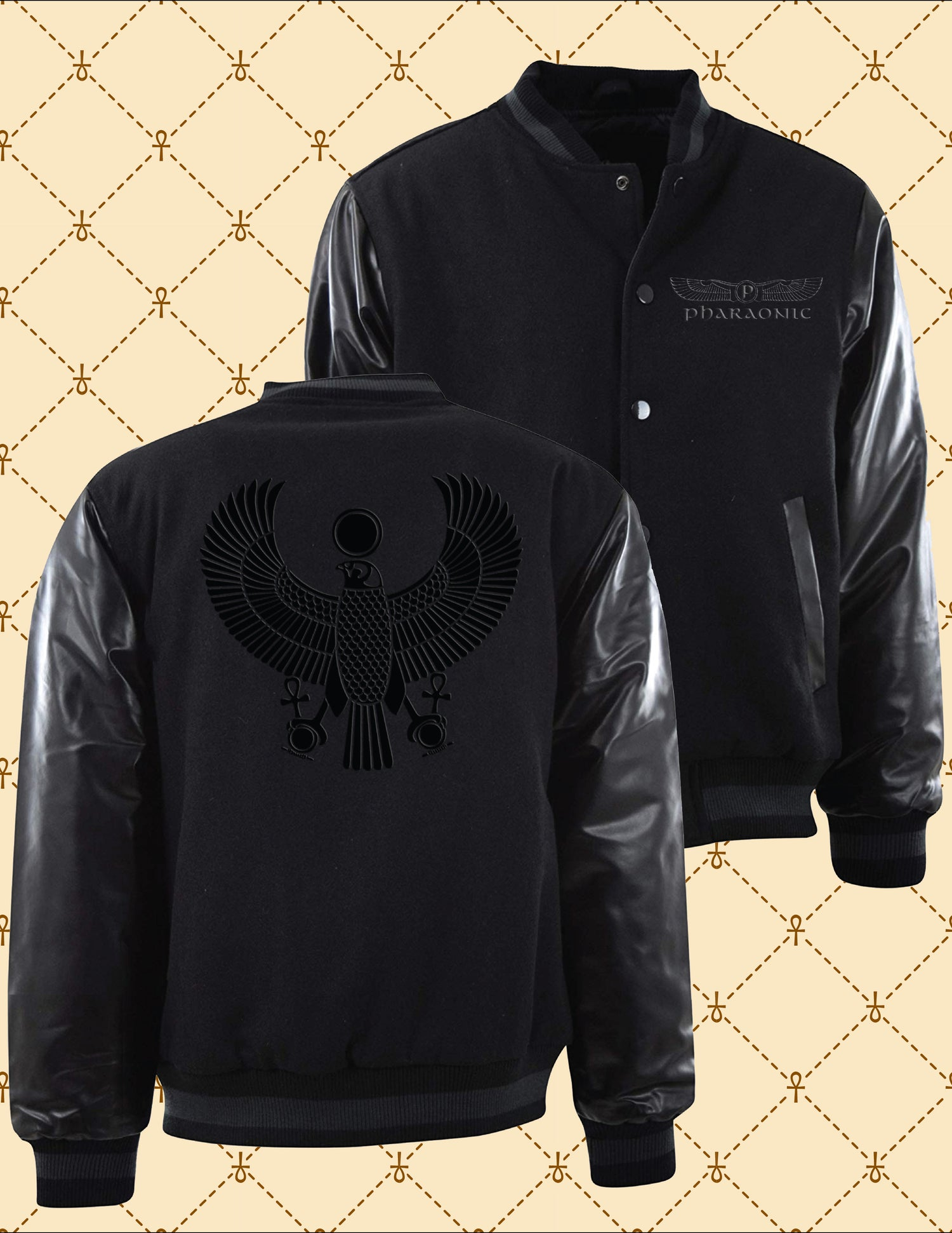 Image of Black on Black HRU Varsity Jacket